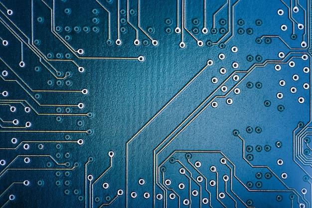 High-tech-leiterplatte. makrotechnik und computerkonzept. hintergrund der netzwerktechnologie.