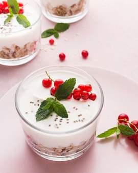 High view glas gefüllt mit bio-food-lifestyle-konzept