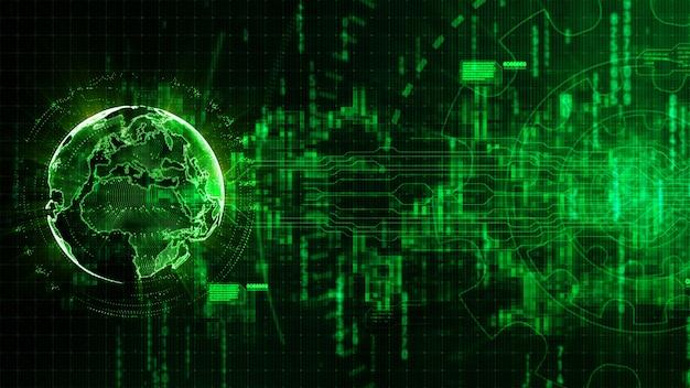 Hightech- digitaler abstrakter hintergrund mit dem technologiegang und erdbild bereitgestellt von der nasa