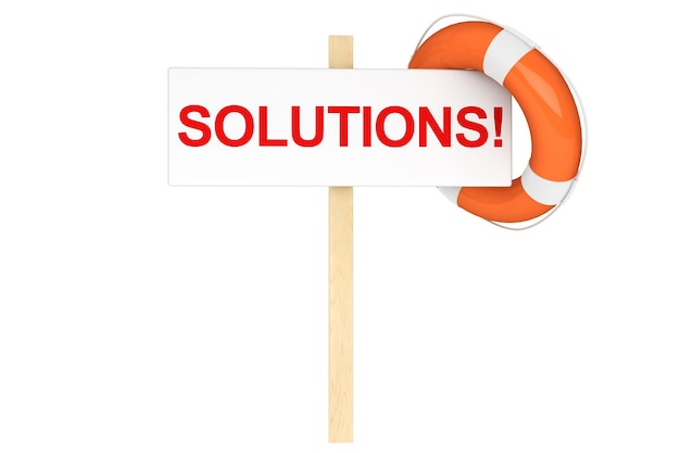 Hilfe-konzept. rettungsring mit lösungszeichen auf weißem hintergrund