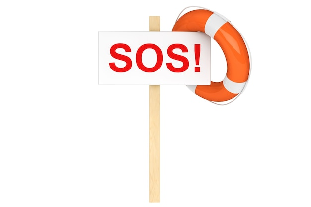 Hilfe-konzept. rettungsring mit sos-zeichen auf weißem hintergrund