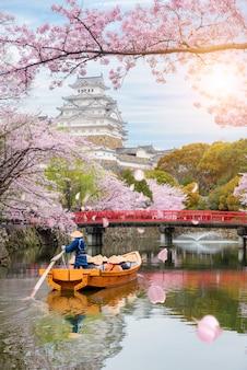 Himeji-schloss mit schöner jahreszeit der kirschblüte im frühjahr bei hyogo nahe osaka, japan.