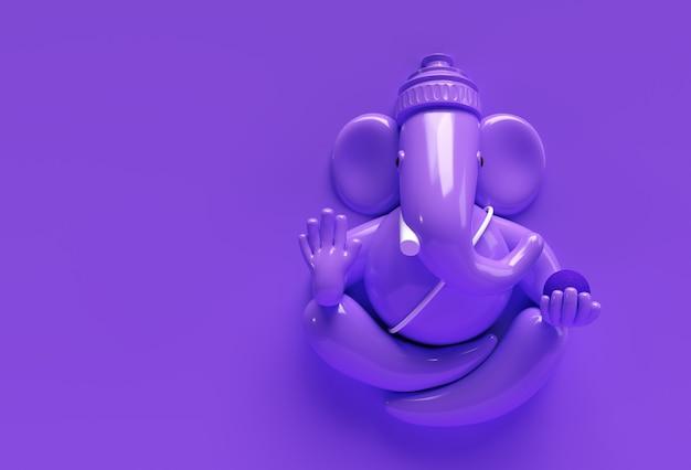 Hindu-gott ganesha statue - hindu religion festival konzept elefant. 3d-render-abbildung.