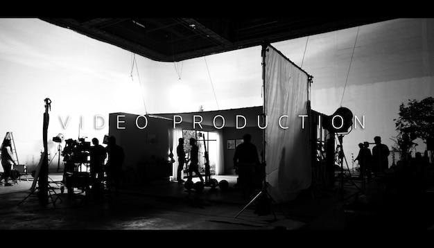 Hinter der videoproduktion und dem beleuchtungsset für die dreharbeiten, welches team der filmcrew arbeitet