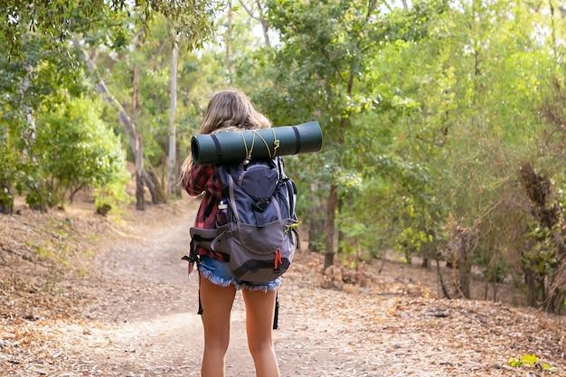 Hintere ansicht der frau, die auf natur mit rucksack entlang waldstraße geht. kaukasischer weiblicher reisender, der in wäldern geht oder wandert. tourismus-, abenteuer- und sommerferienkonzept