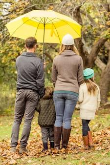 Hintere ansicht der jungen familie unter regenschirm