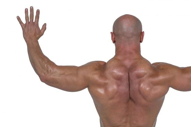 Hintere ansicht des bodybuilders mit den armen ausgestreckt