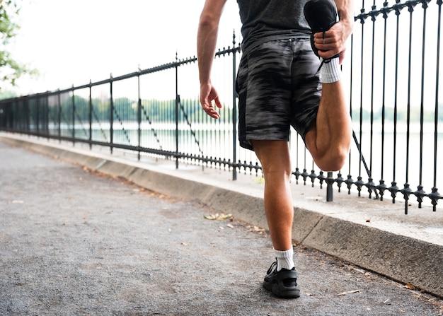 Hintere ansicht des läuferausdehnens