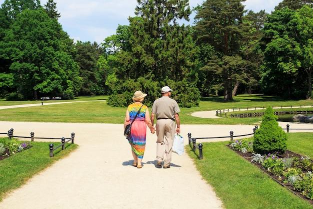Hintere ansicht von den älteren paaren, die unten in park des bernsteinfarbigen museums gehen.