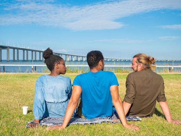Hintere ansicht von den jungen freunden, die auf gras sitzen