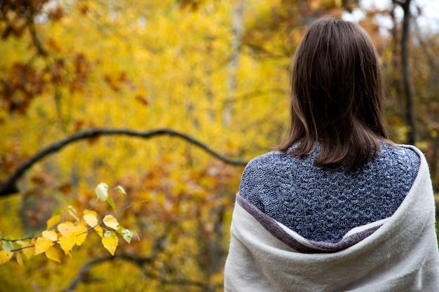 Hintere ansicht von der rückseite eines mädchens in einem grauen kleid, das in einem schal oder in einem schal eingewickelt wird und den wald mit gelben blättern betrachtet