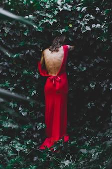 Hintere ansichtfrau, die in busch tritt