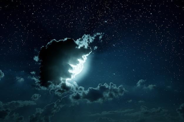 Hintergründe nachthimmel mit sternen und mond und wolken. elemente dieses von der nasa bereitgestellten bildes