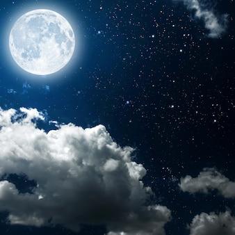 Hintergründe nachthimmel mit sternen und mond und wolken. holz. elemente dieses von der nasa bereitgestellten bildes