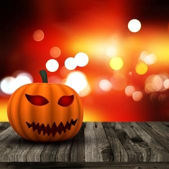 Hintergrund 3d halloween mit kürbis auf einem holztisch
