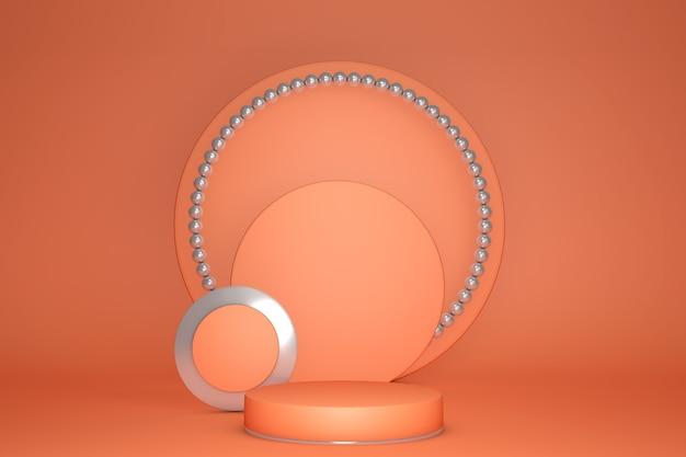 Hintergrund 3d orange korallenzylinder podium und minimale geometrische szene stage produkte sockel plattform