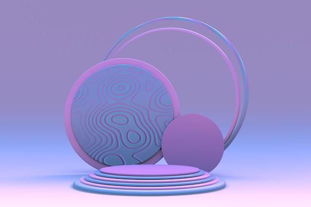 Hintergrund 3d-rosa-blau-rendering mit leerem podium und minimaler abstrakter geometrischer szene