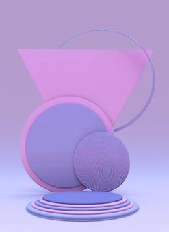 Hintergrund 3d-rosa-blau-rendering mit leerem rundem podium und minimaler abstrakter form