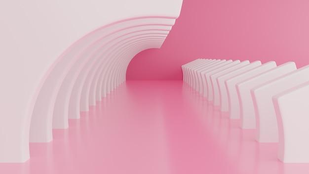 Hintergrund der abstrakten architektur. 3d illustration des weißen kreisförmigen gebäudes und der rosa wand.