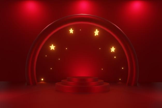 Hintergrund der abstrakten geometrieform mit podium im 3d-rendering