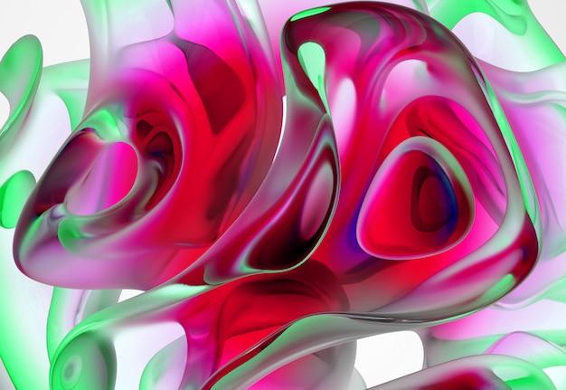 Hintergrund der abstrakten kunst 3d mit einem teil der glasskulptur in der organischen kurve