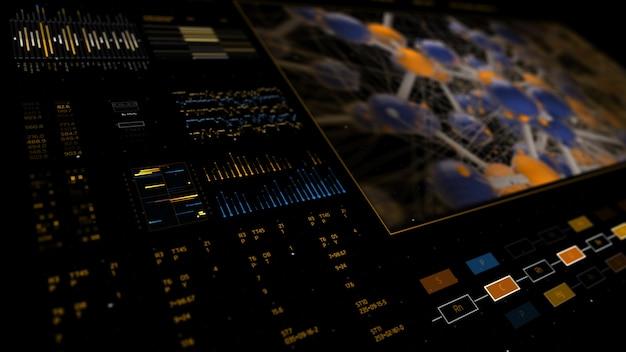 Hintergrund der abstrakten technologie-schnittstelle mit vielen ziffern und analyse von diagrammelementen