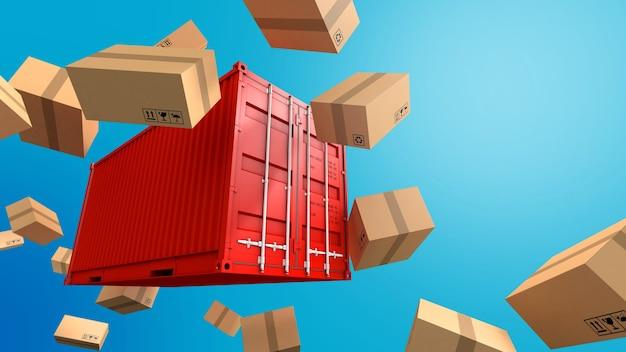 Hintergrund der container- und kartonverpackung, frachtfrachtschiff für import-export-geschäft, 3d-rendering