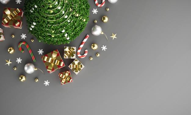 Hintergrund der frohen weihnachten in der draufsicht mit kopienraum, wiedergabe 3d.
