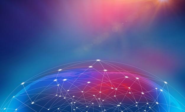 Hintergrund der globalen geschäftstätigkeit und der neuen innovationskommunikationstechnologie