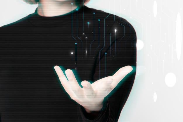 Hintergrund der hand der glitzernden frau mit digitalem remix der futuristischen technologie