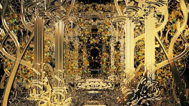 Hintergrund der illustration 3d für die werbung und tapete in der gatsby- und art deco-szene. wiedergabe 3d im dekorativen konzept