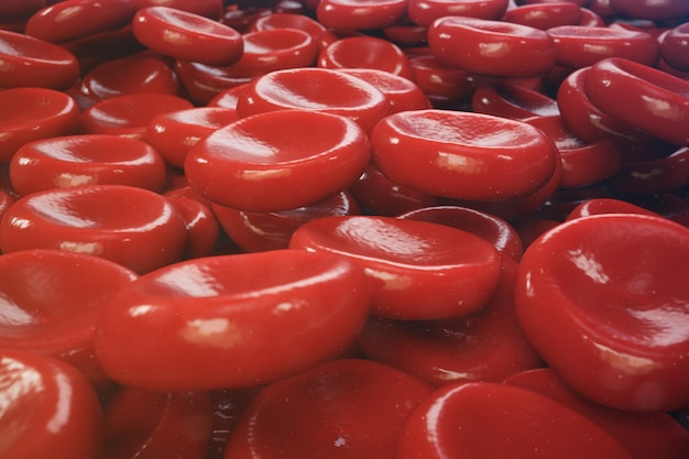 Hintergrund der illustration 3d von roten blutkörperchen
