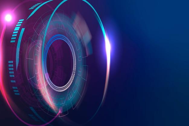 Hintergrund der optischen linsentechnologie in lila und blauem farbverlauf