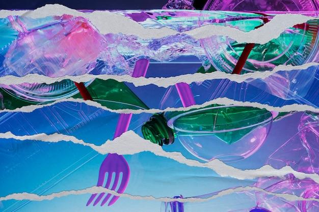Hintergrund der plastikverschmutzung im zerrissenen papierstil