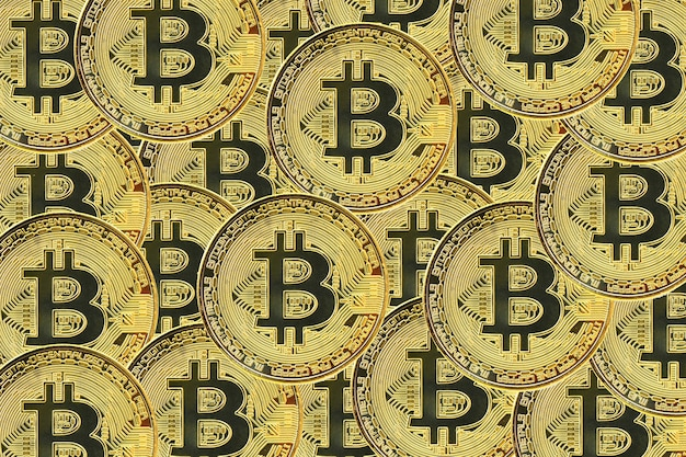Hintergrund des bitcoin-kryptowährungsstapels hintergrund der virtuellen währung