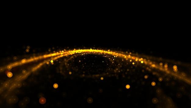 Hintergrund des goldenen partikellinienstreifens