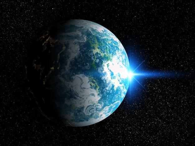Hintergrund des raumes 3d mit fiktivem planeten