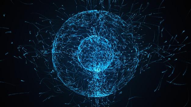 Hintergrund des schleifenförmigen abstrakten partikels mit kugelformen, die durch 3d-illustration der rauschverschiebungskraft stark deformiert wurden
