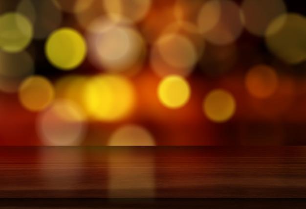 Hintergrund des weihnachten 3d mit holztisch gegen bokeh lichtdesign