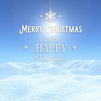 Hintergrund des weihnachten 3d mit schneebedeckter landschaft mit dekorativem text