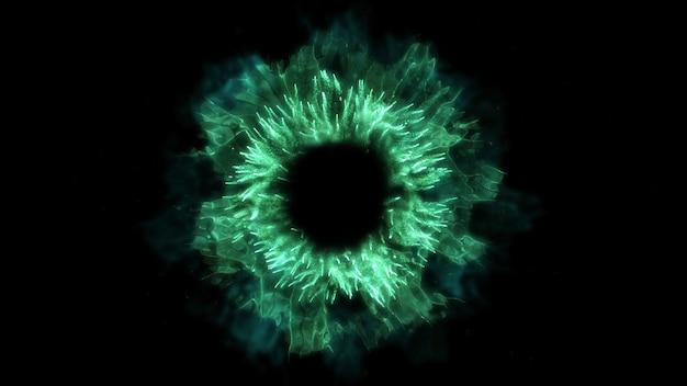 Hintergrund explodieren. explosion isoliert. schwarzer hintergrund. runde stoßwelle. abstraktes element. grüne farbe.