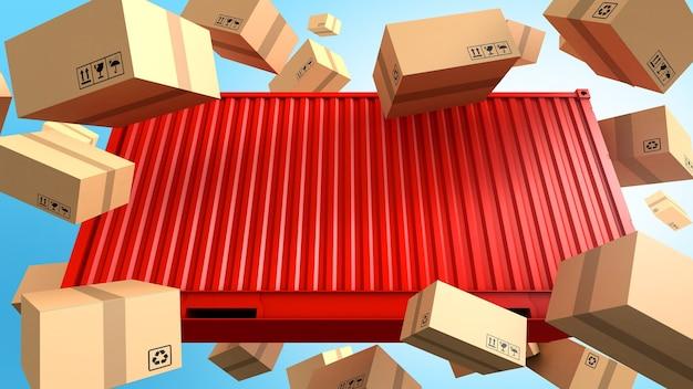 Hintergrund für container und kartonverpackungen, frachtfrachtschiff für import-export-geschäft, 3d-rendering