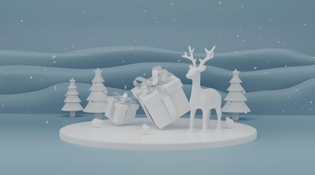 Hintergrund für die produktpräsentation weihnachtsbaum 3d rendering anzeigen.