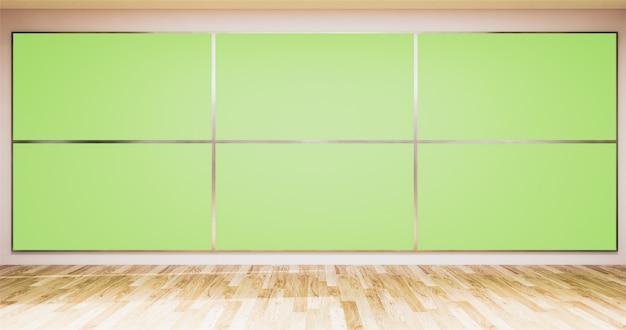 Hintergrund für fernsehsendungen fernsehapparat auf wand, leerem nachrichtenstudio des raumes und grünem schirm des hintergrund fernsehapparates