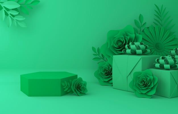Hintergrund für kosmetische produktpräsentation anzeigen. leerer schaukasten, papierillustrations-wiedergabe der blume 3d.