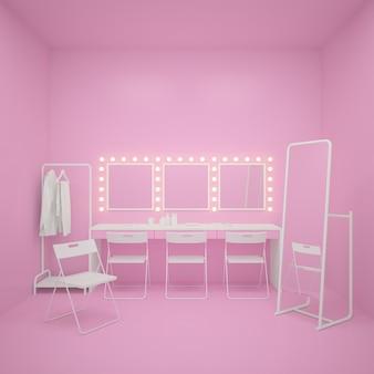 Hintergrund für rosa ankleidezimmer. 3d-rendering