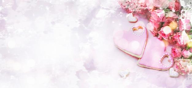 Hintergrund für valentinstag mit hausgemachtem lebkuchen. aquarellimitation