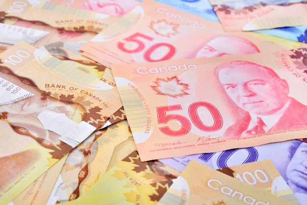 Hintergrund geschossen von kanadischen banknoten