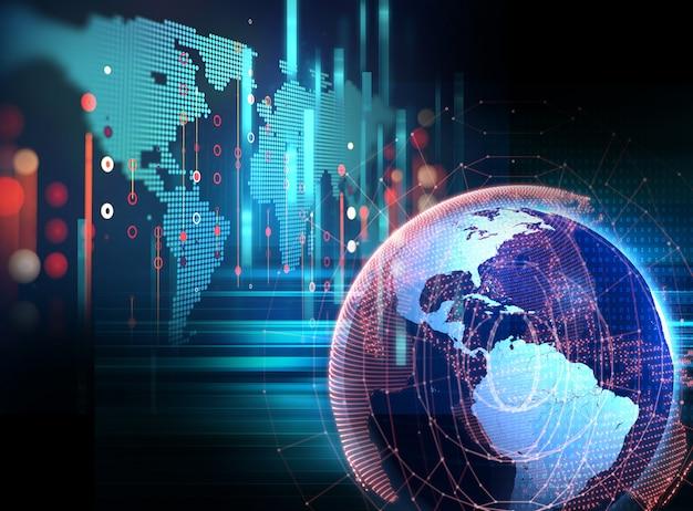 Hintergrund-illustration der futuristischen technologiezusammenfassung der erde