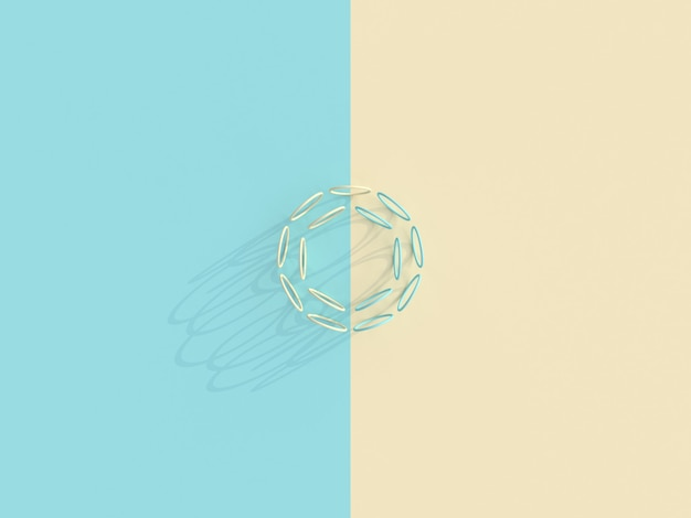 Hintergrund in der flachen lageart einer reihe ringe auf einer zweifarbigen oberfläche.